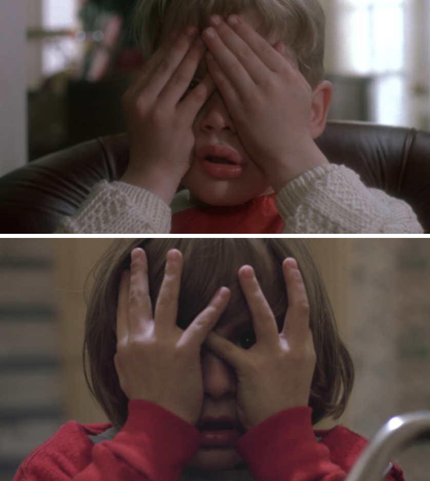 "Kevin covering his face but moving his fingers to leave one eye open in ""Home Alone;"" Danny doing the same thing in ""The Shining"""