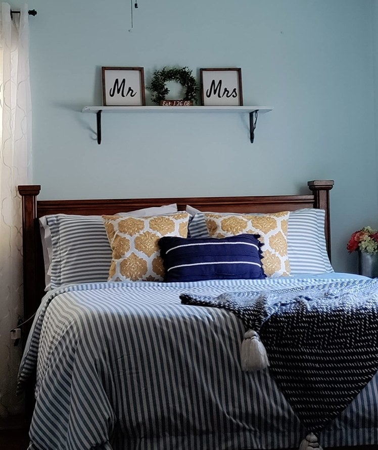 A striped duvet cover in a reviewer's home