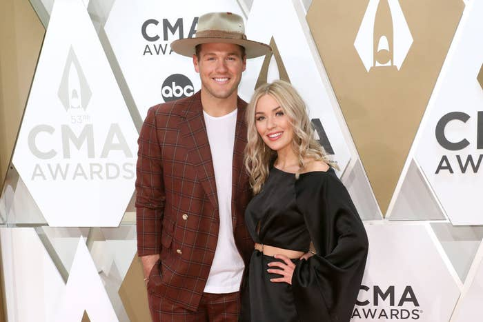 Colton and Cassie posing on the red carpet at the 53rd CMA Awards