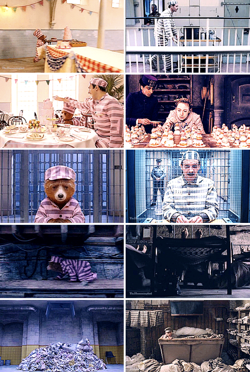 Paddington and  Monsieur Gustave H. doing parallel acts in jail, like wearing the same striped-suit, rolling around treats for others, and escaping through the laundromat