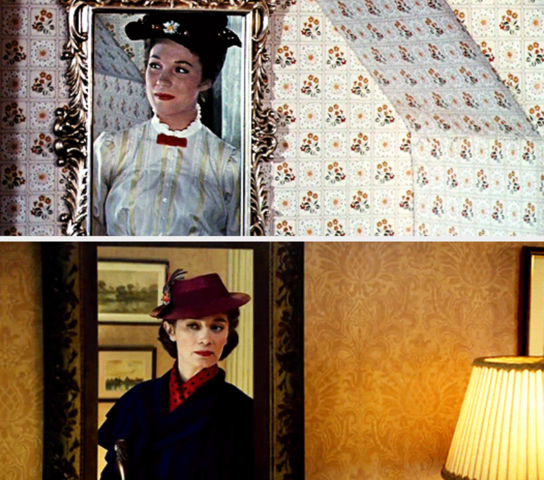 "Mary Poppins watching herself walk away in the mirror; Mary Poppins in ""Mary Poppins Returns"" doing the same thing"
