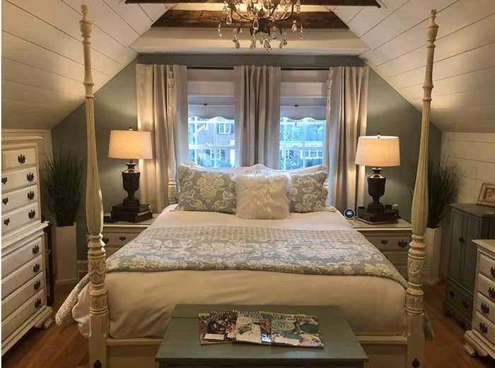 A beautiful white duvet cover in a reviewer's home