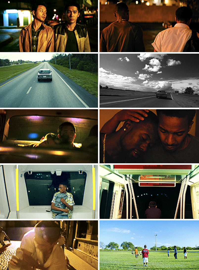 "A montage of similar love sequences between Chiron and Kevin in ""Moonlight,"" and Ho Po-Wing and Lai Yiu-Fai in ""Happy Together."" Parallel images of couples walking together, driving down a road, holding each other, riding the bus, and playing games"