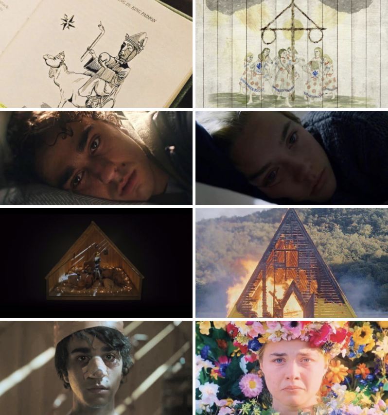 Parallel images of Peter and Dani's experiences; a triangular set full of torture; Peter and Dani laying in bed, hopeless; obscure drawings of the horrific experience they would later endure