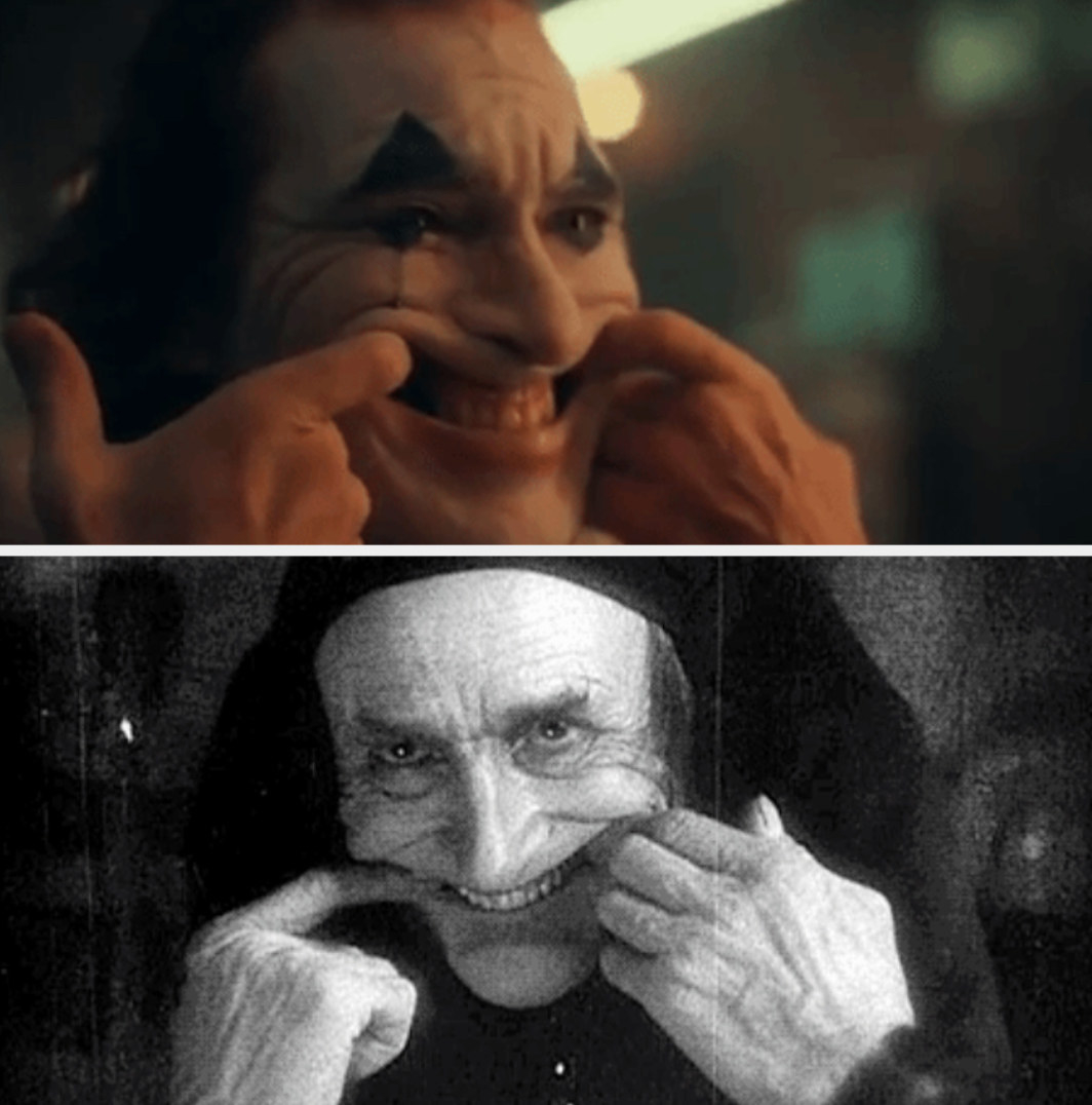"Joker using his hands to smile; Gwynplaine creepily doing the same thing in ""The Man Who Laughs"""
