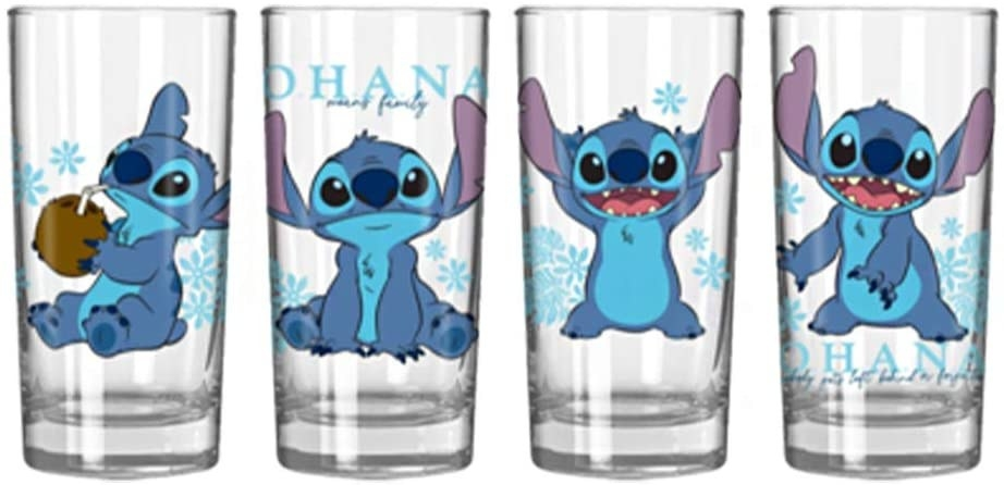 the four glass tumblers with stitch on each one