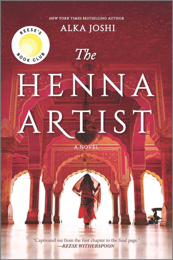 The front cover of The Henna Artist features someone with a scarf on their head walking through a hallway