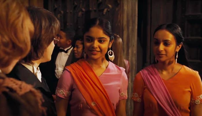 Padma and Parvati Patil meet Harry Potter and Ron Weasley at the Yule Ball