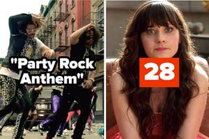 "Party Rock Anthem music video screenshot next to Jessica Day from New Girl labeled ""28"""