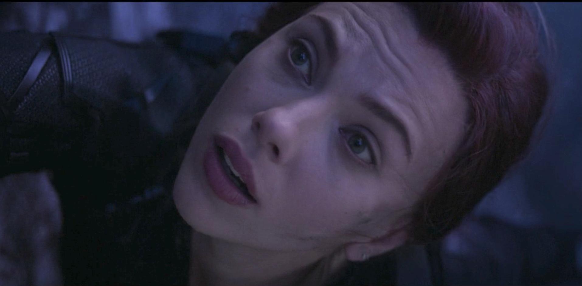Natasha holding onto Clint before she dies