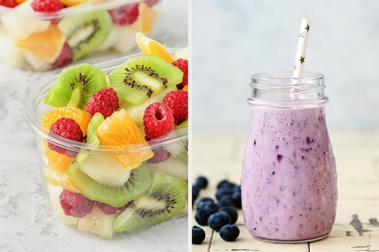 Cut fruit and blueberry smoothie