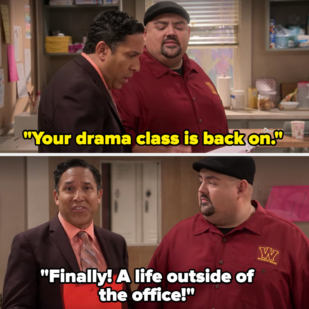"Mr. Iglesias: ""Your drama class is back on"" Carlos: (looking at the camera) ""Finally! A life outside of the office!"""