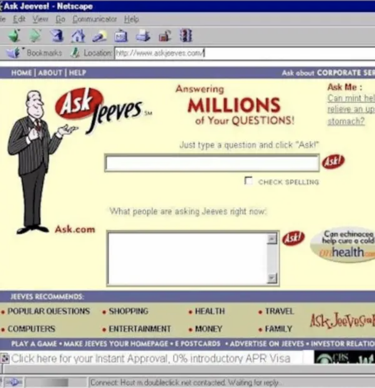 ask jeeves screen