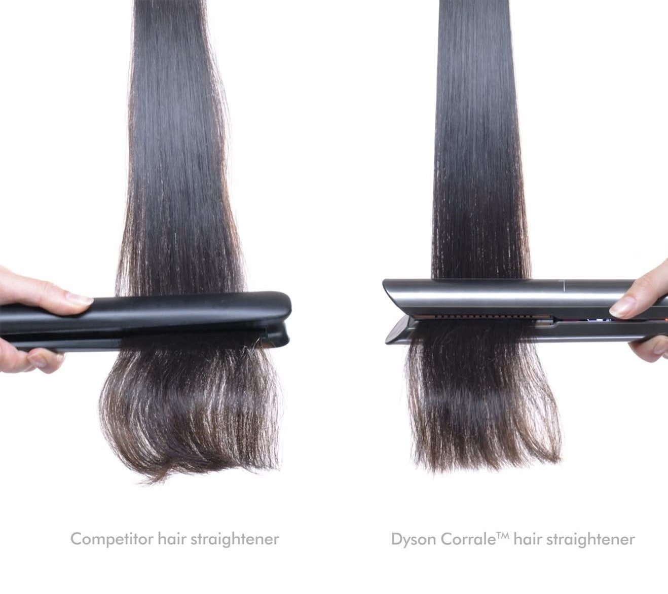 side by side of piece of hair being straightened with a competitor straightener versus Dyson, with the Dyson gathering the hair together more neatly