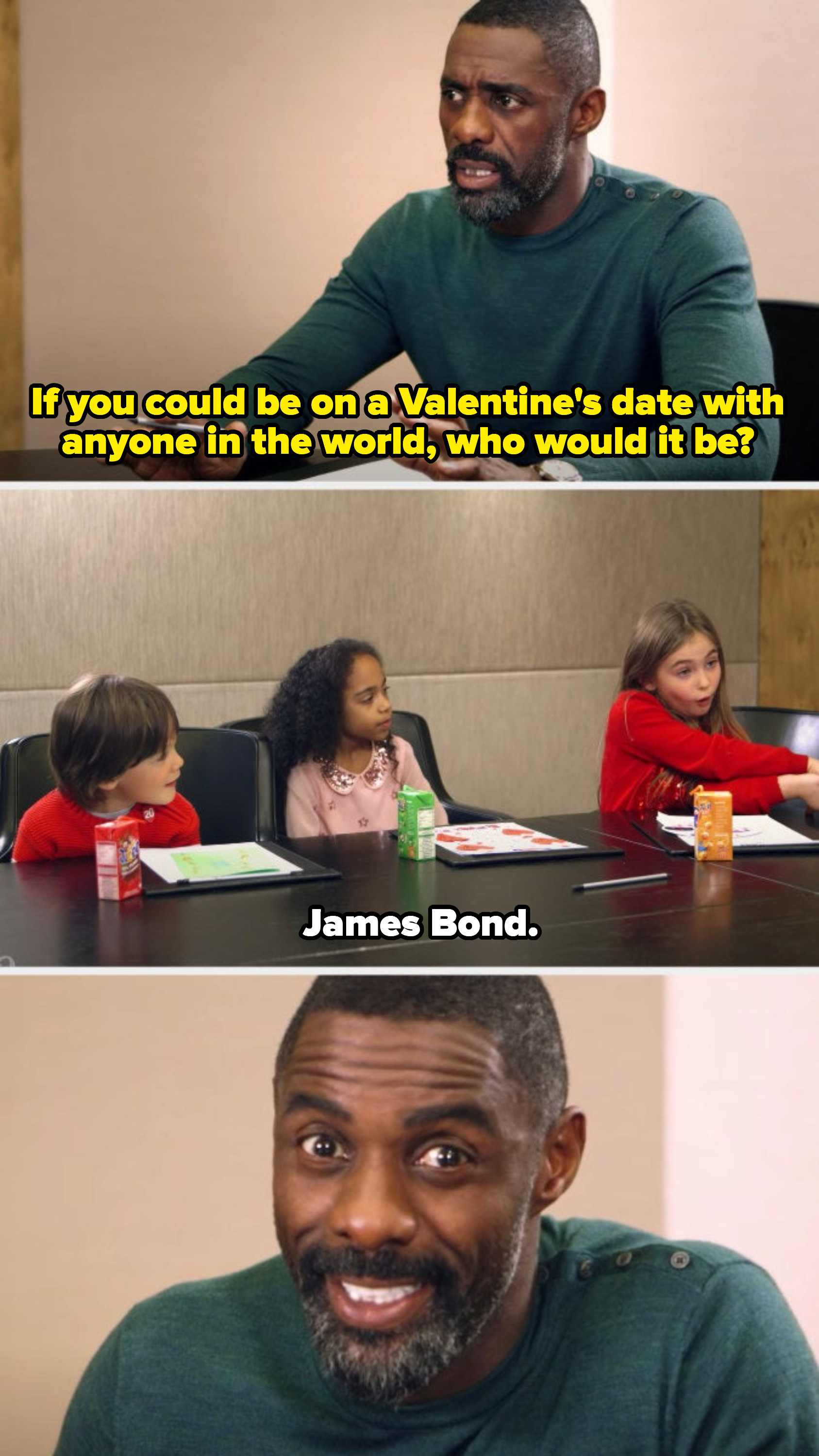 Idris asking kids their dream Valentine's date, one of them saying James Bond, and Idris smiling and looking into the camera