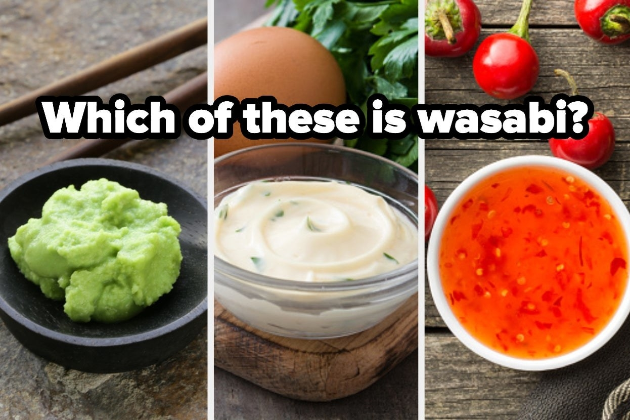 """Wasabi, aioli, and sweet and sour sauce with the words """"Which of these is wasabi?"""""""
