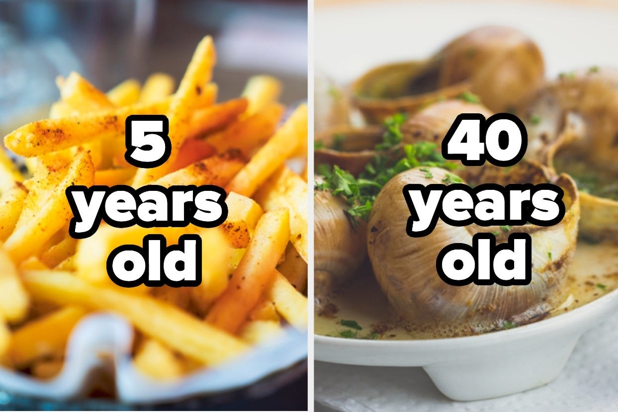 """French fries with the words """"5 years old"""" and escargot with the words """"40 years old"""""""