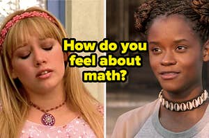 "Lizzie McGuire and Shuri with text, ""How do you feel about math?"""