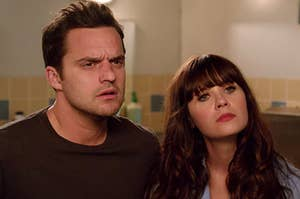 """Nick and Jess from """"New Girl"""" looking confused"""
