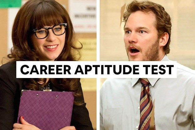 """Jess from """"New Girl"""" and Andy from """"Parks and Recreation"""" with the words """"Career aptitude test"""""""