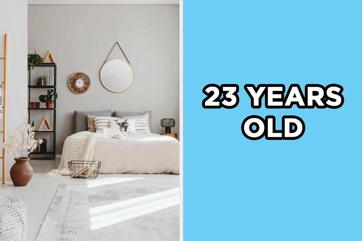 """Elegant bedroom with the words """"23 years old"""""""