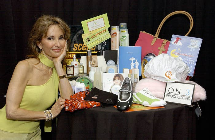 susan lucci with a bunch of free shit