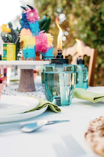 tiki torch placed on table