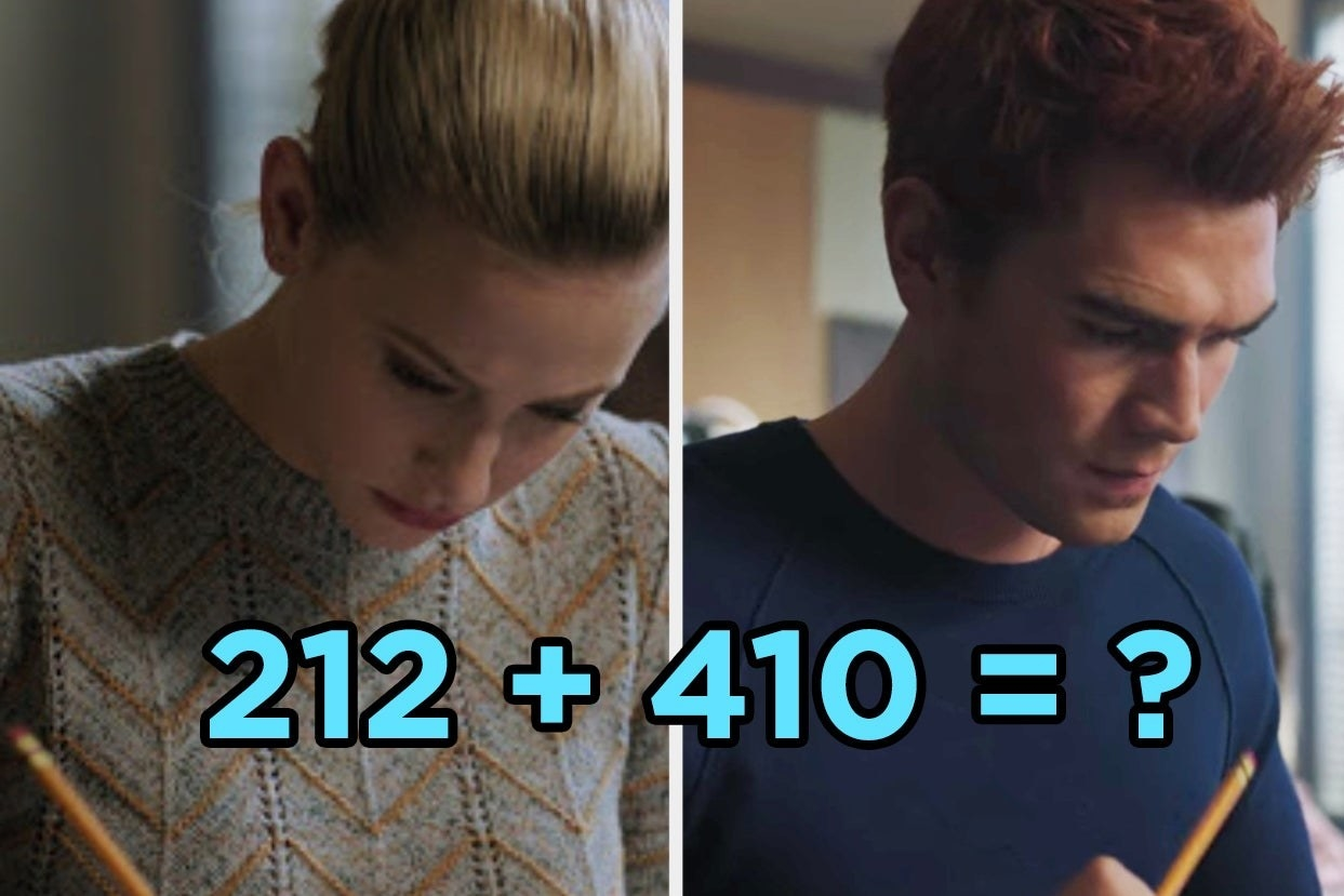 """Betty and Archie from """"Riverdale"""" with the text """"212 + 410 = ?"""""""