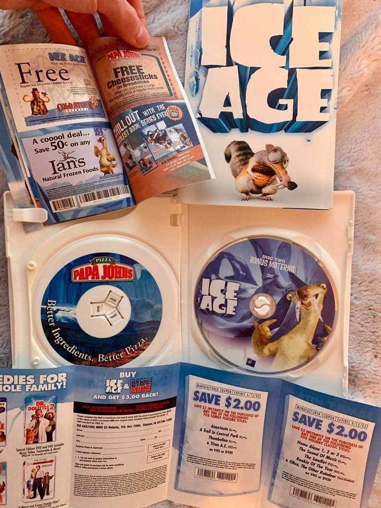 Papa John's coupons inside of an Ice Age DVD