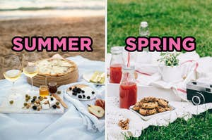 On the left, a beach picnic with fruits, cheese pizza, and wine labeled