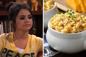 Alex Russo is on the left with a bowl of mac and cheese on the right