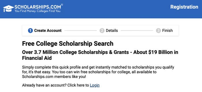 Scholarships.com search page with over 3.7 million scholarships and grants in the database