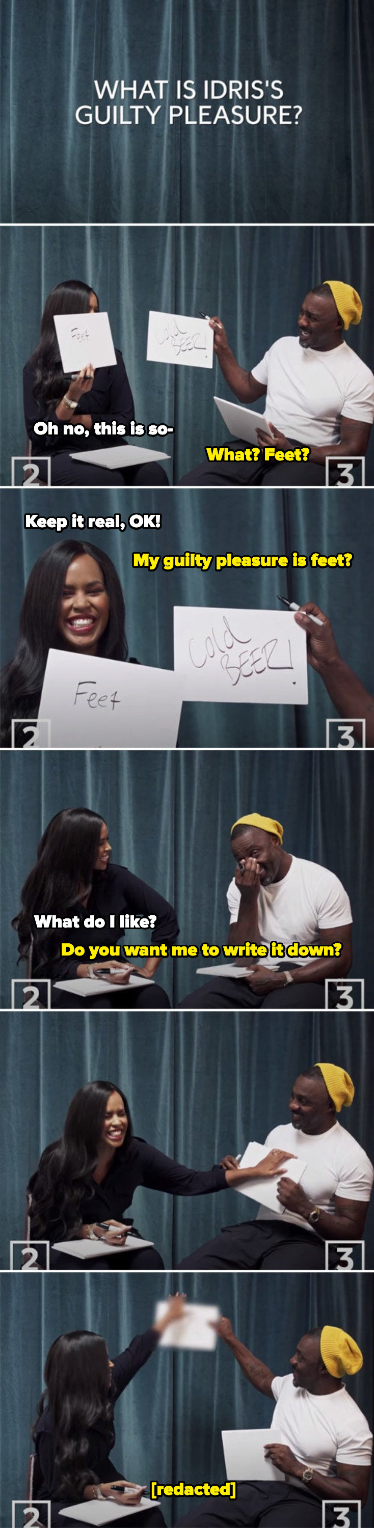 Idris's wife saying his guilty pleasure is feet, Idris looking confused and embarrassed, her asking what she likes, them laughing, and the answer being blurred out