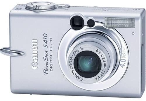 A silver Canon PowerShot S410 digital camera