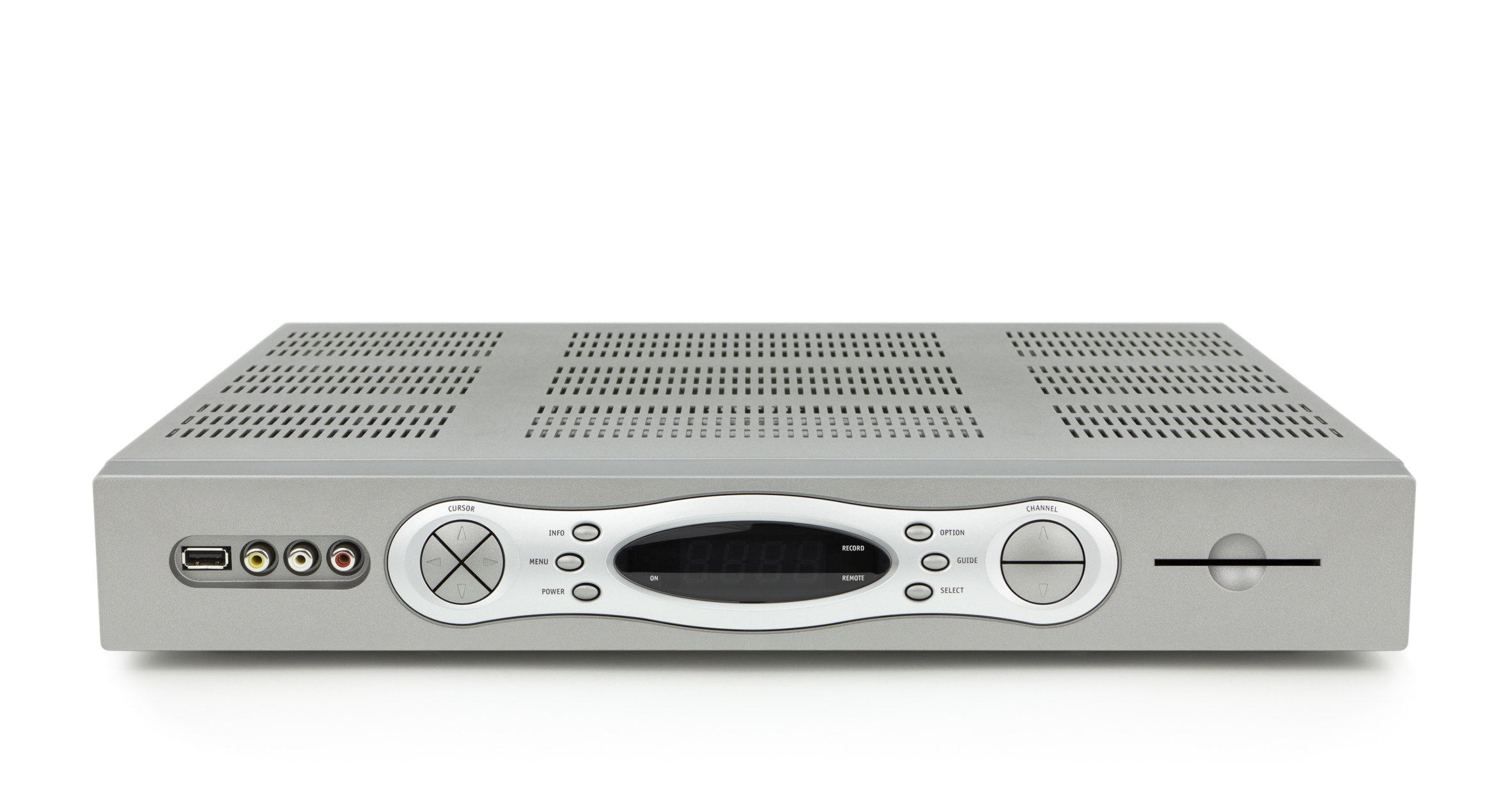 High-definition digital video recorder, DVR, cable TV box, isolated on white