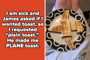 """Text saying, """"I am sick and James asked if i wanted toast so i requested plain toast"""" and an image of toast cut into the shape of a plane"""