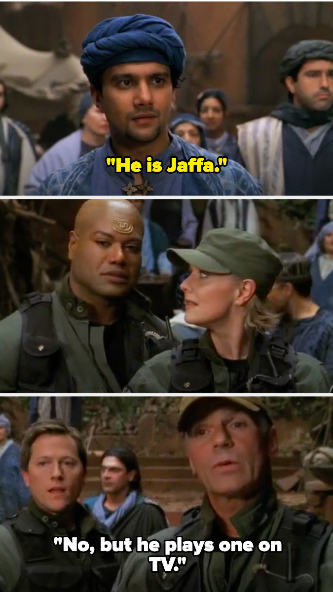a man calls Teal'c a Jaffa and O'Neill says he just plays one on TV