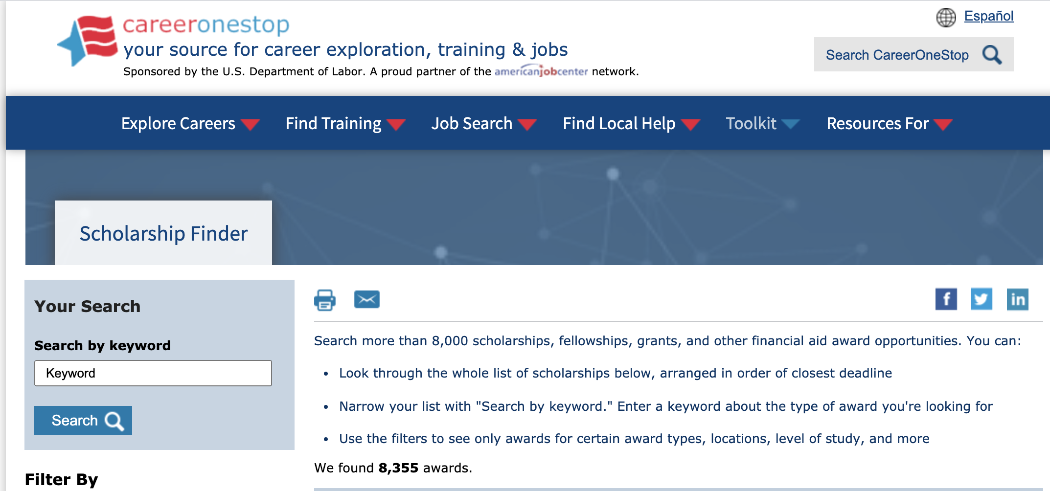 The scholarship search tool showing 8,355 awards in the database