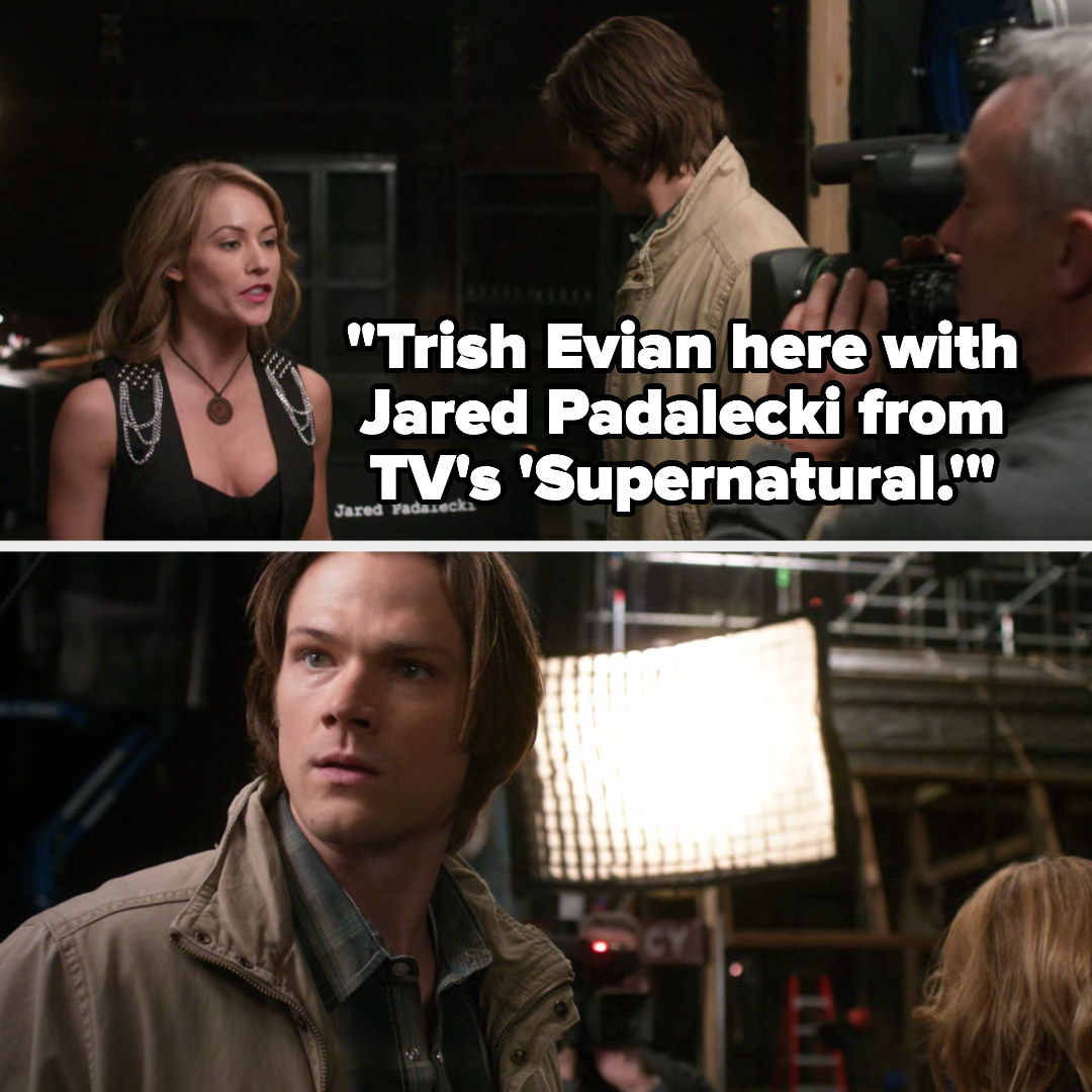 reporter says she's there with Jared Padalecki from TV's 'Supernatural' as Sam looks around confused