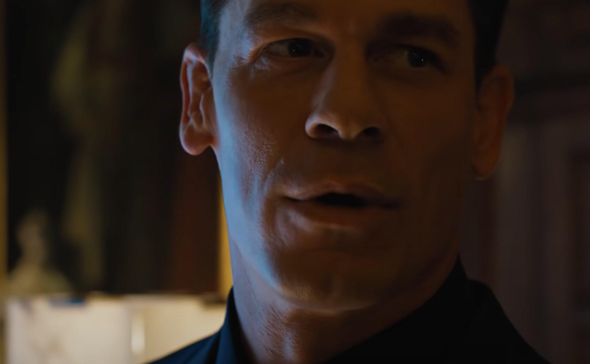 John Cena who plays Jakob looks at the camera
