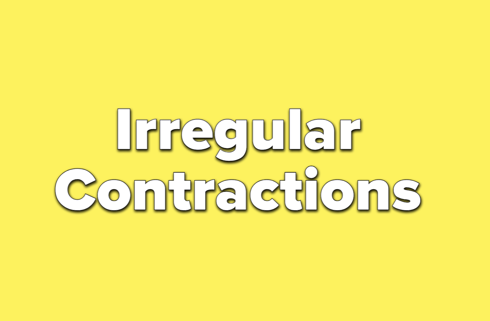 Text reads irregular contractions