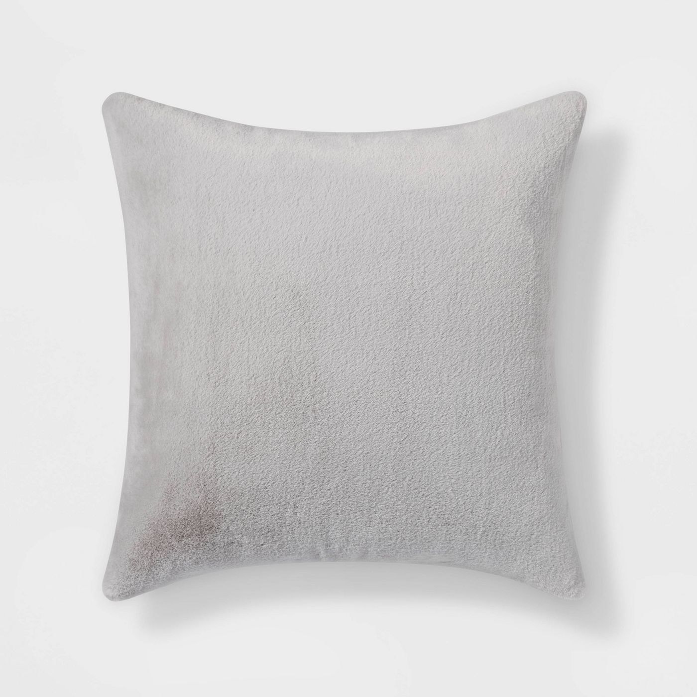 grey faux rabbit hair throw pillow