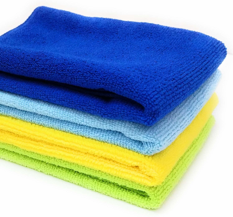 A set of three microfiber cloths