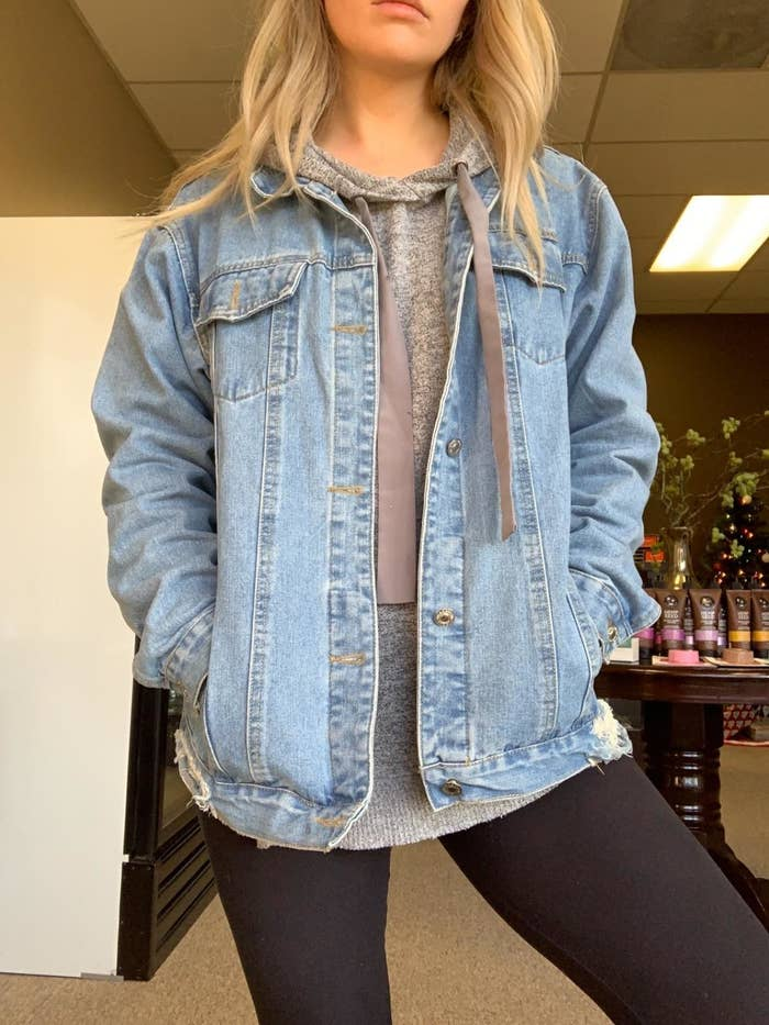 reviewer wearing the jacket