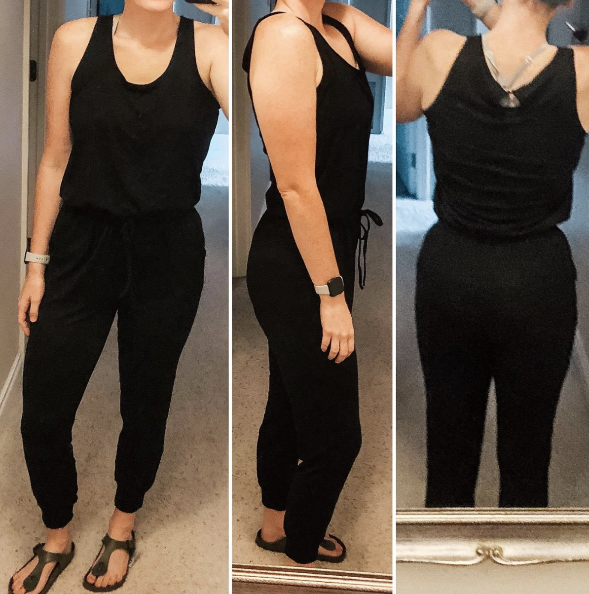 reviewer wearing the black jumpsuit