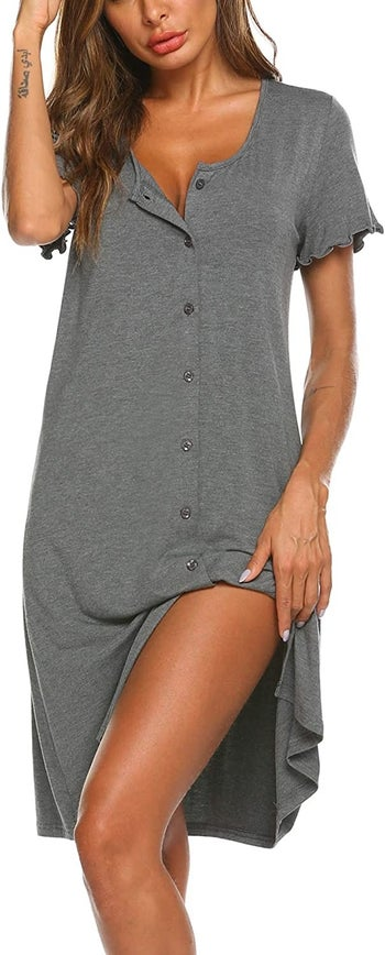 model wearing the gray nightgown