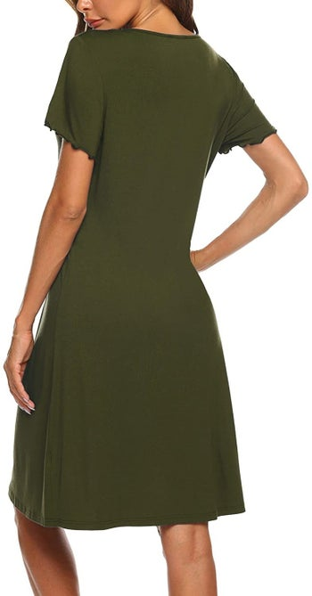model wearing an olive green nightgown