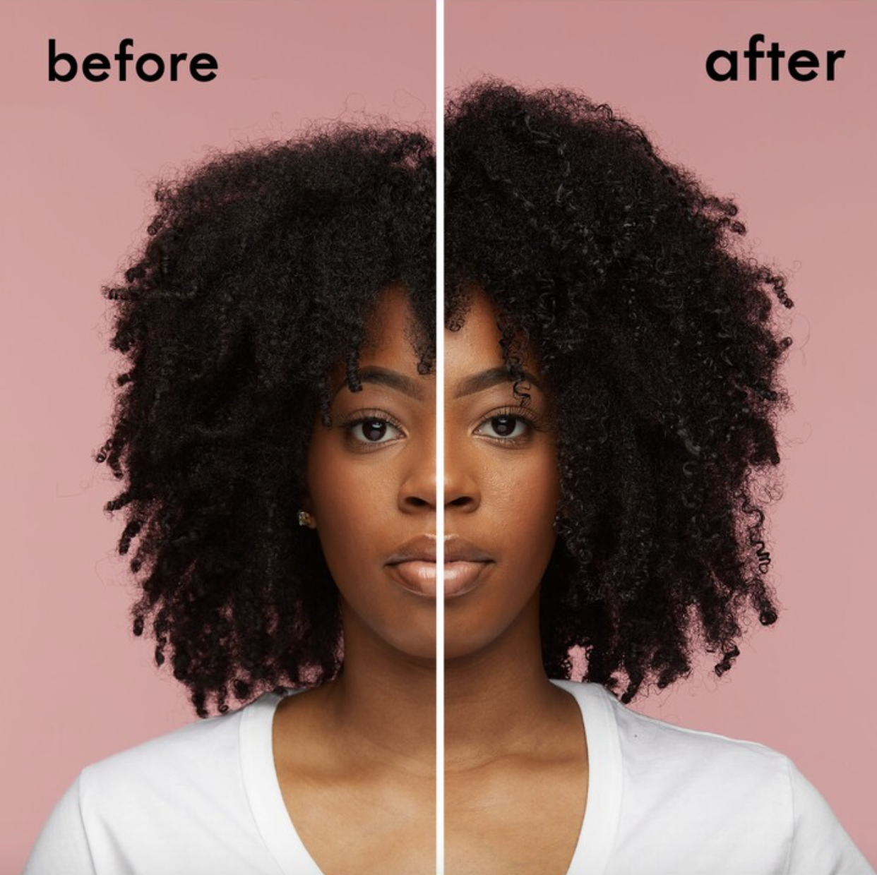 Black model with natural hair with bouncier, fuller curls after using the oil