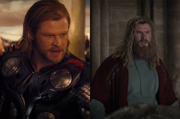Thor grew out his hair and beard and had a different body type in Endgame