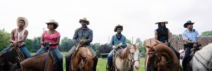 Cast of 'Concrete Cowboy' on horseback
